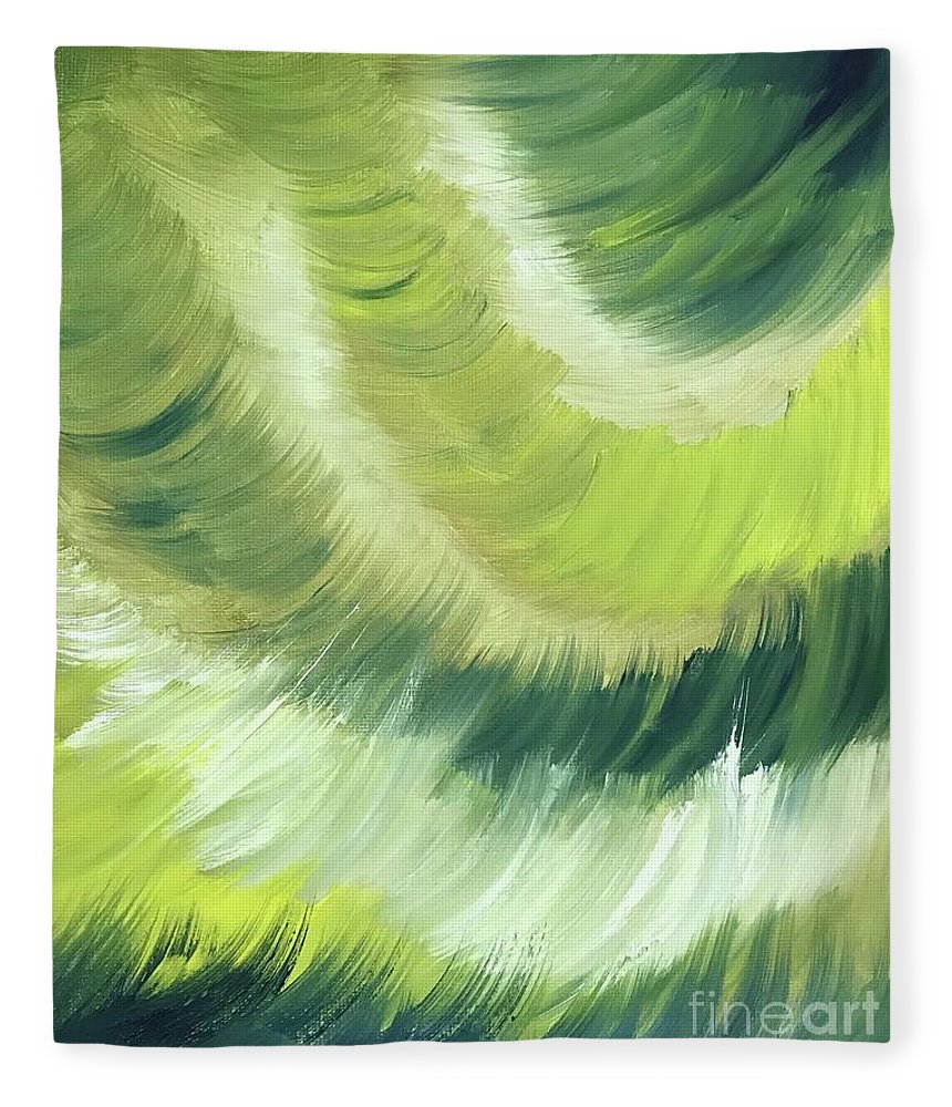 Abstract Fleece Blanket featuring the painting No Strings Attached by Sheila Mashaw