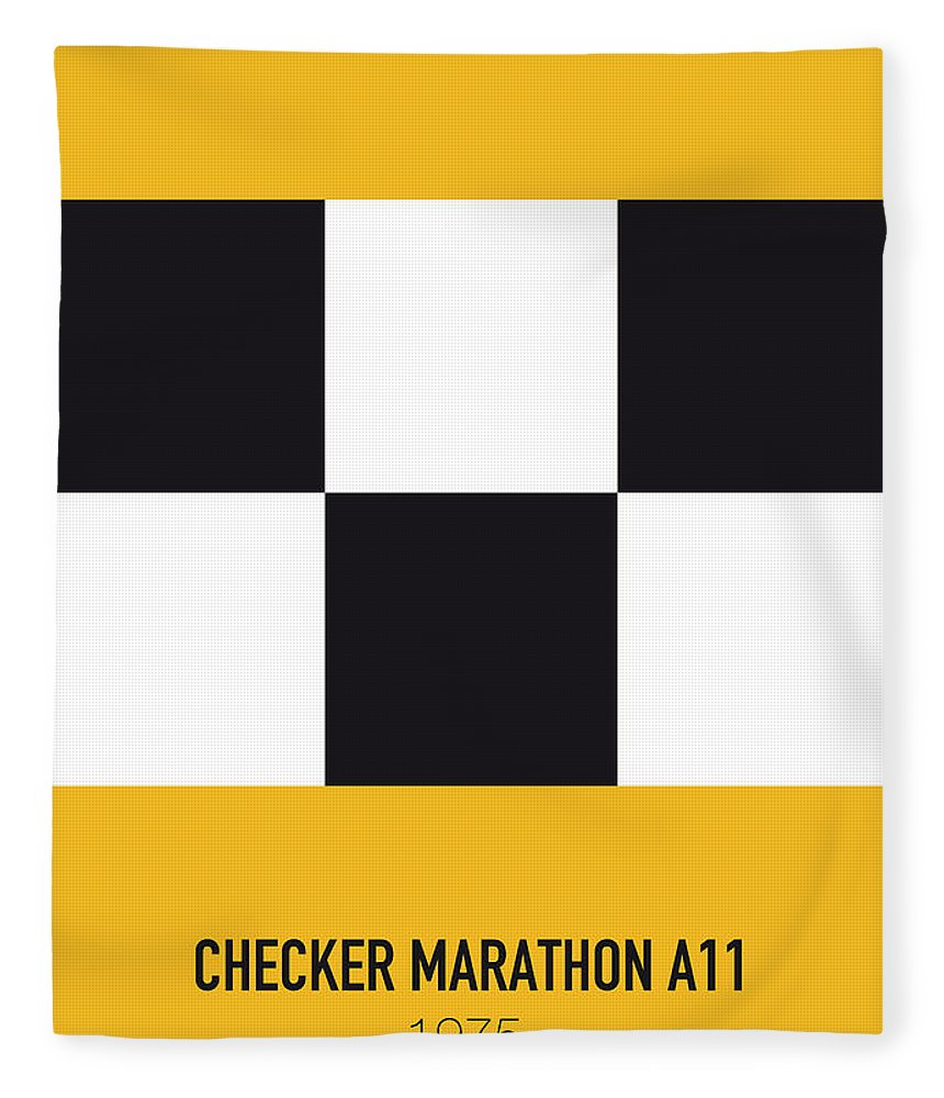 Dukes Fleece Blanket featuring the digital art No002 My Taxi Driver Minimal Movie Car Poster by Chungkong Art