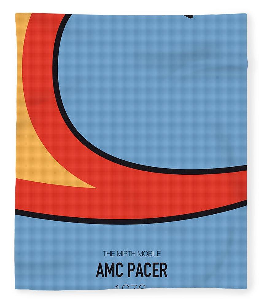 Amc Pacer Fleece Blanket featuring the digital art No010 My Waynes World Minimal Movie Car Poster by Chungkong Art