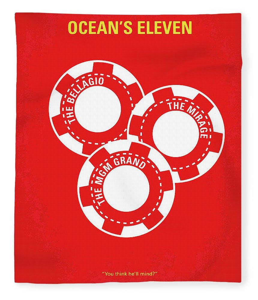 Ocean's Fleece Blanket featuring the digital art No056 My Oceans 11 Minimal Movie Poster by Chungkong Art