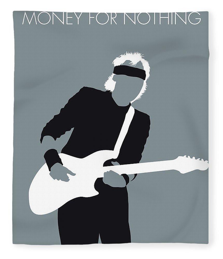 Mark Fleece Blanket featuring the digital art No107 My Mark Knopfler Minimal Music Poster by Chungkong Art