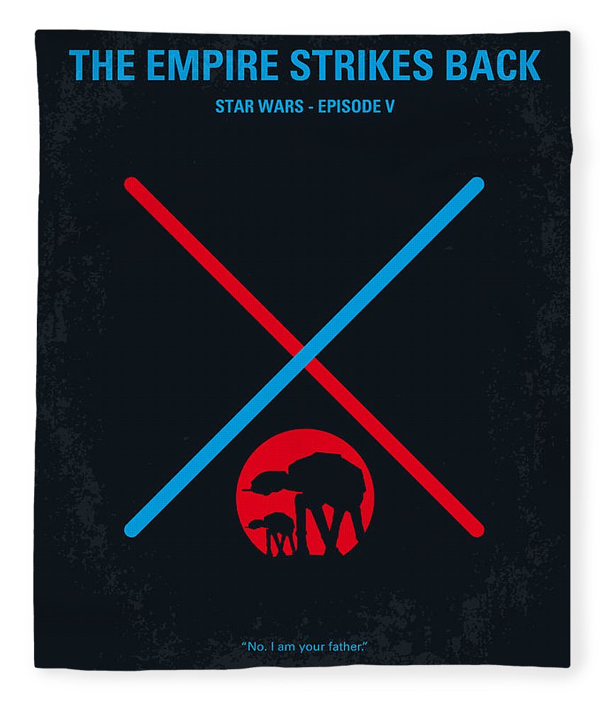 Star Fleece Blanket featuring the digital art No155 My Star Wars Episode V The Empire Strikes Back Minimal Movie Poster by Chungkong Art