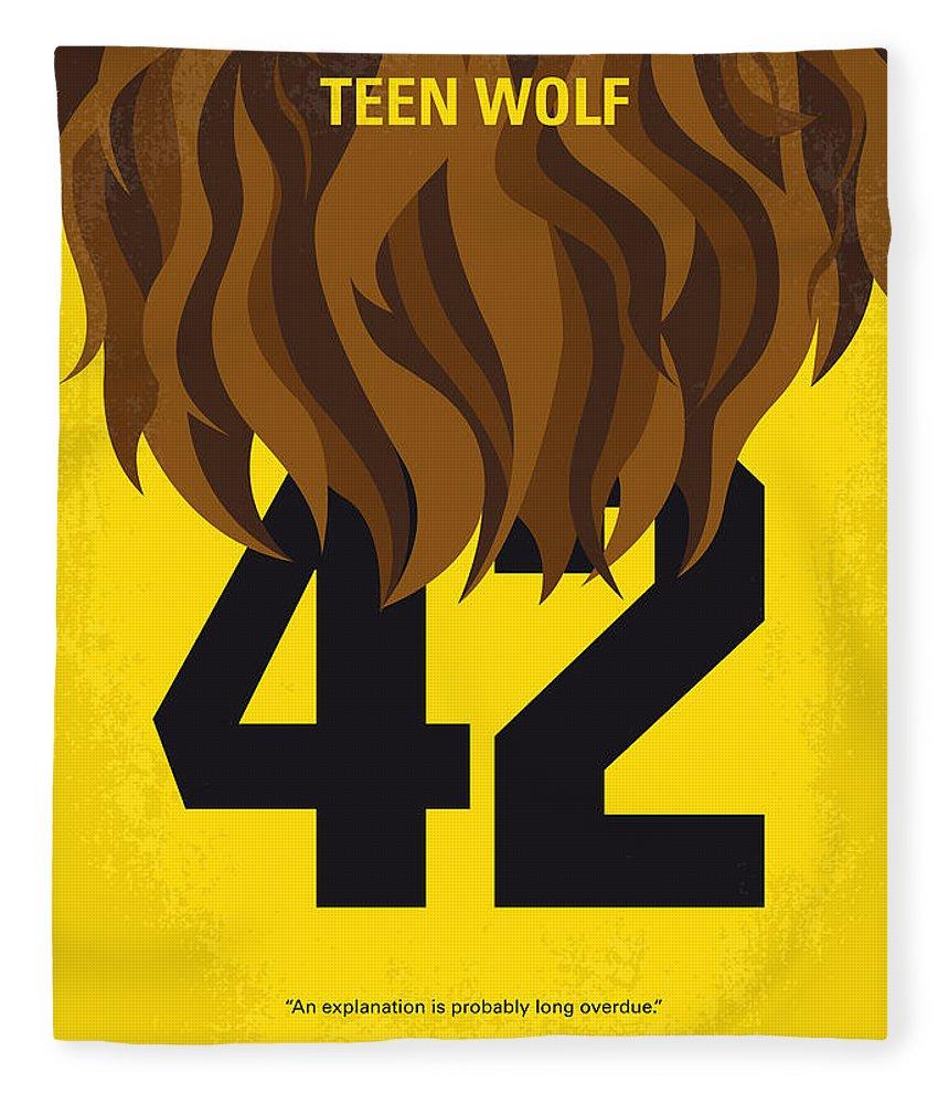 Teen Fleece Blanket featuring the digital art No607 My Teen Wolf Minimal Movie Poster by Chungkong Art