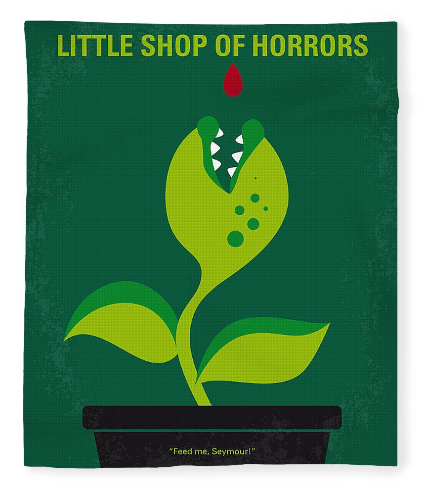 Little Fleece Blanket featuring the digital art No611 My Little Shop Of Horrors Minimal Movie Poster by Chungkong Art