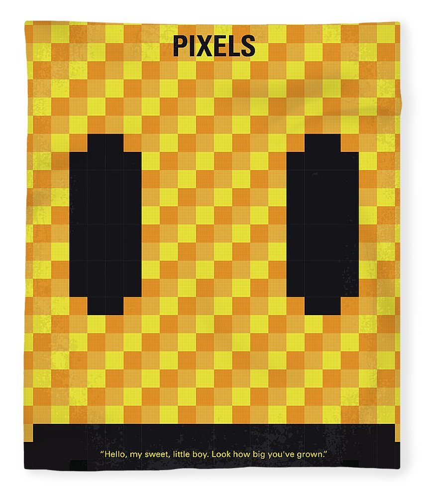 Pixels Fleece Blanket featuring the digital art No703 My Pixels Minimal Movie Poster by Chungkong Art
