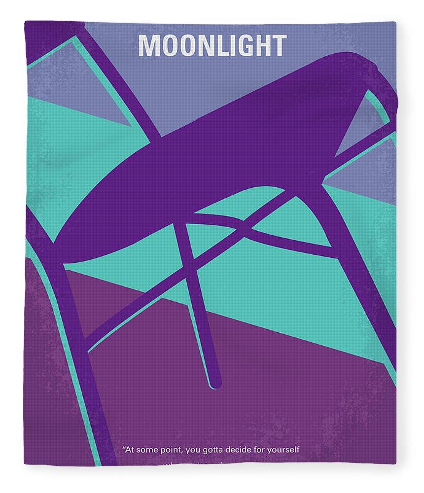 Moonlight Fleece Blanket featuring the digital art No757 My Moonlight Minimal Movie Poster by Chungkong Art