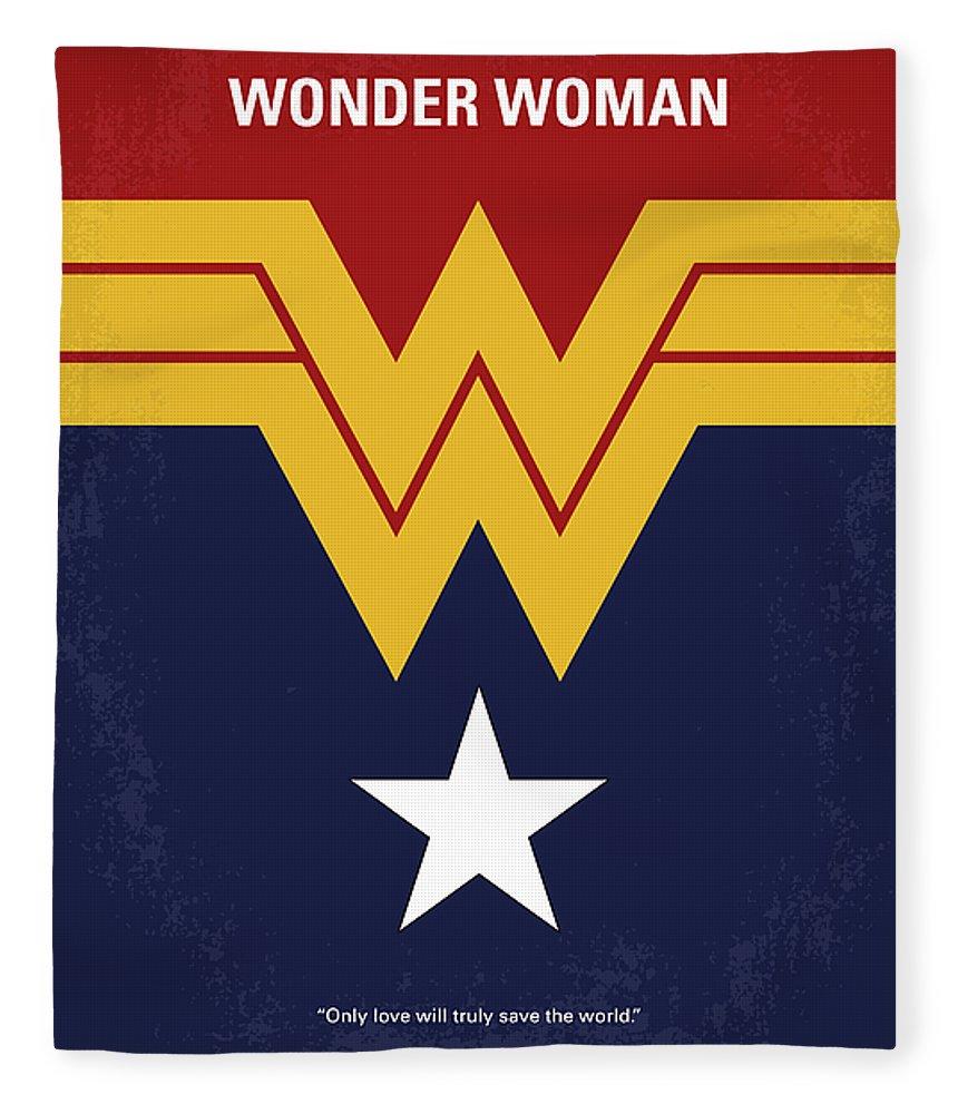 Wonder Fleece Blanket featuring the digital art No825 My Wonder Woman Minimal Movie Poster by Chungkong Art