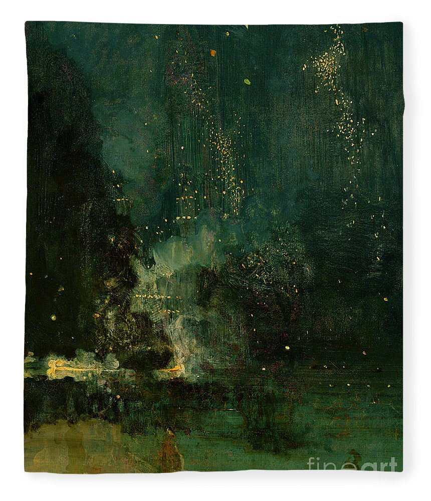 Nocturne Fleece Blanket featuring the painting Nocturne In Black And Gold - The Falling Rocket by James Abbott McNeill Whistler