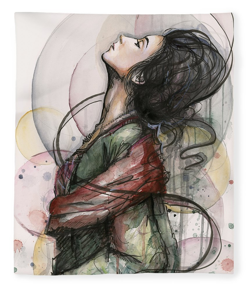 Watercolor Fleece Blanket featuring the painting Beautiful Lady by Olga Shvartsur