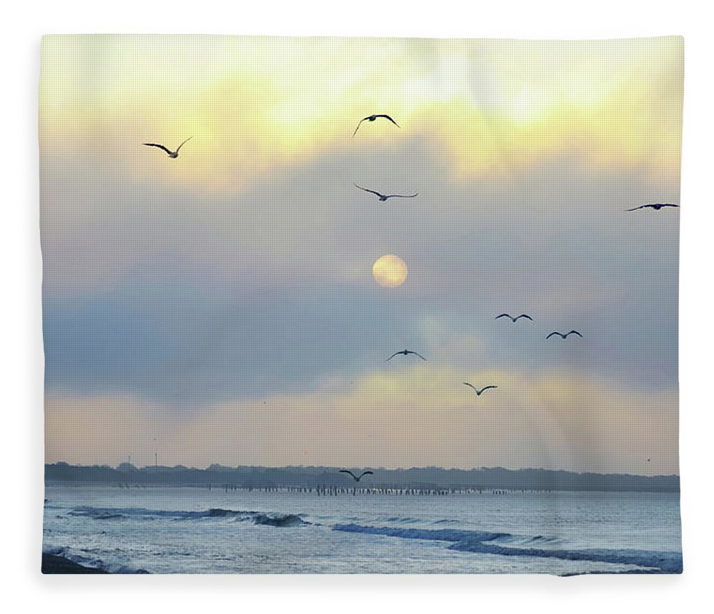 Sunrise Fleece Blanket featuring the photograph North Wildwood Beach by Bill Cannon