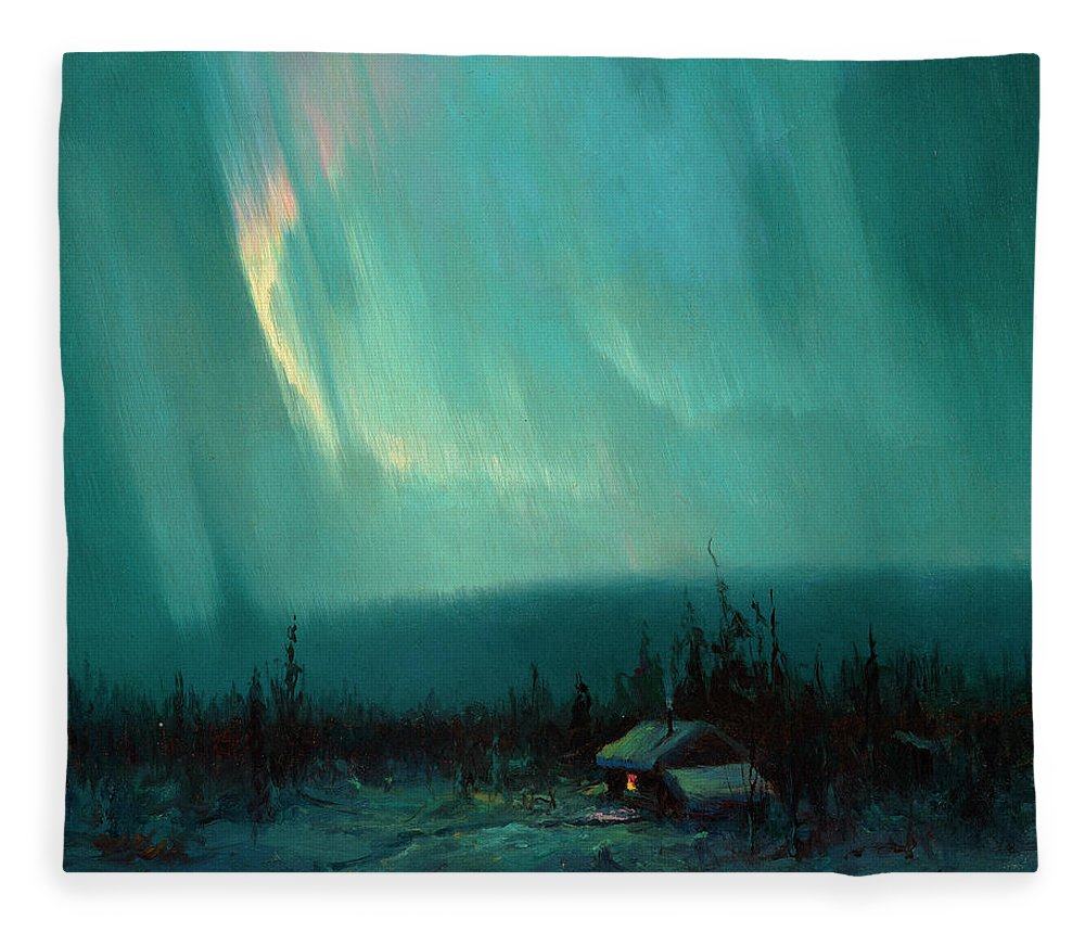 North Star Fleece Blanket featuring the painting Northern Lights, Arctic by Sydney Mortimer Laurence