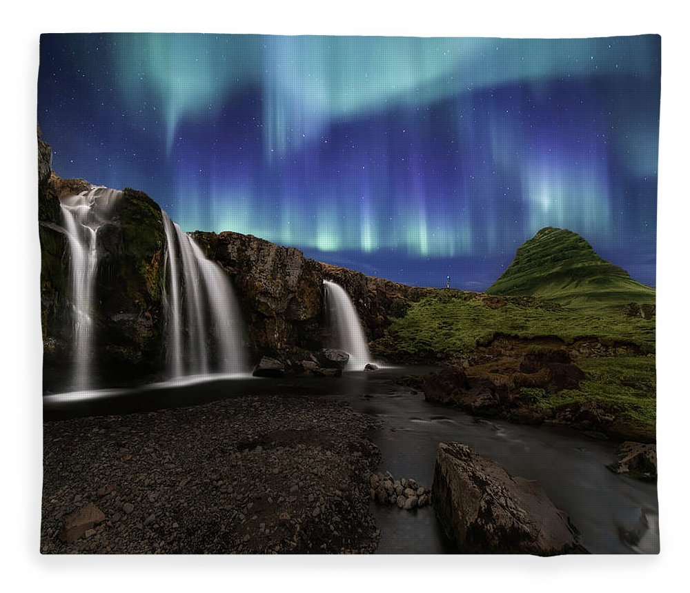 Iceland Fleece Blanket featuring the photograph Northern Lights at Kirkjufellsfoss Waterfalls Iceland by Larry Marshall