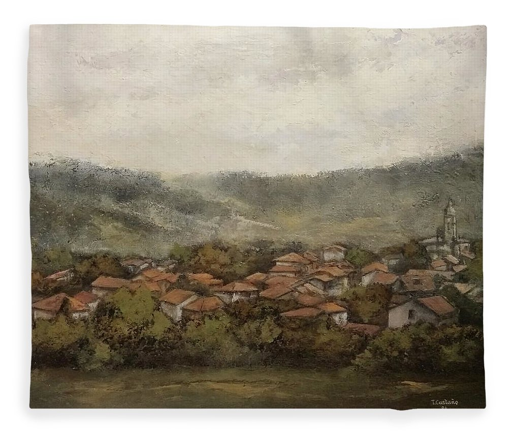Cantabria Fleece Blanket featuring the painting Novales-Cantabria by Tomas Castano