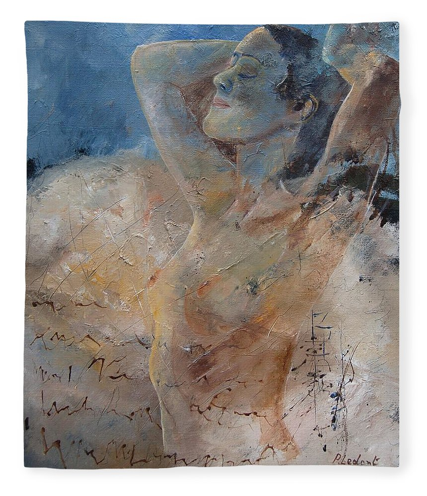 Nude Fleece Blanket featuring the painting Nude 0508 by Pol Ledent