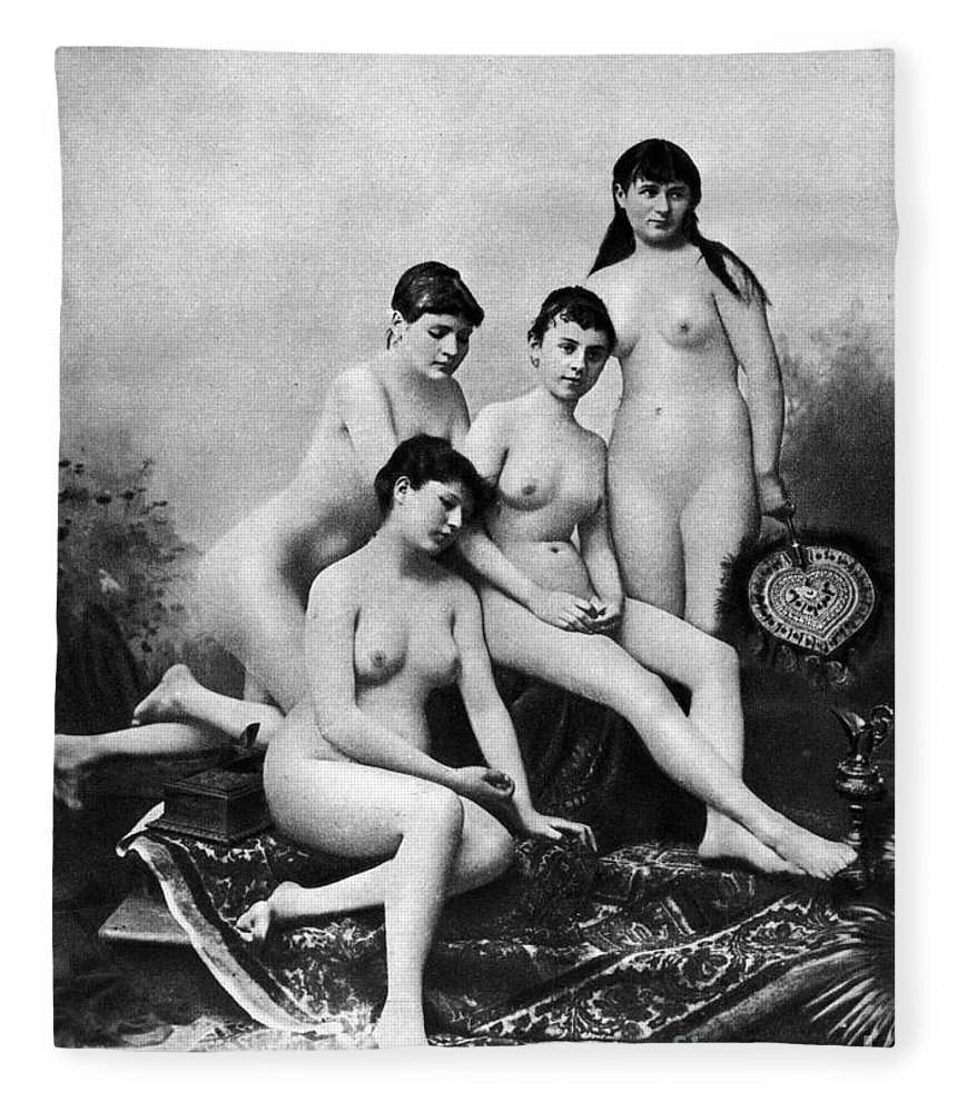 1889 Fleece Blanket featuring the photograph Nude Group, 1889 by Granger