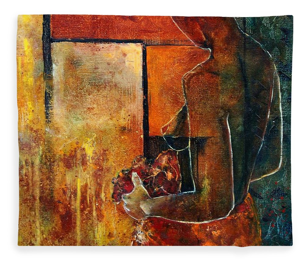 Woman Girl Fashion Nude Fleece Blanket featuring the painting Nude by Pol Ledent