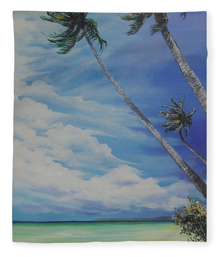 Trinidad And Tobago Seascape Fleece Blanket featuring the painting Nylon Pool Tobago. by Karin Dawn Kelshall- Best