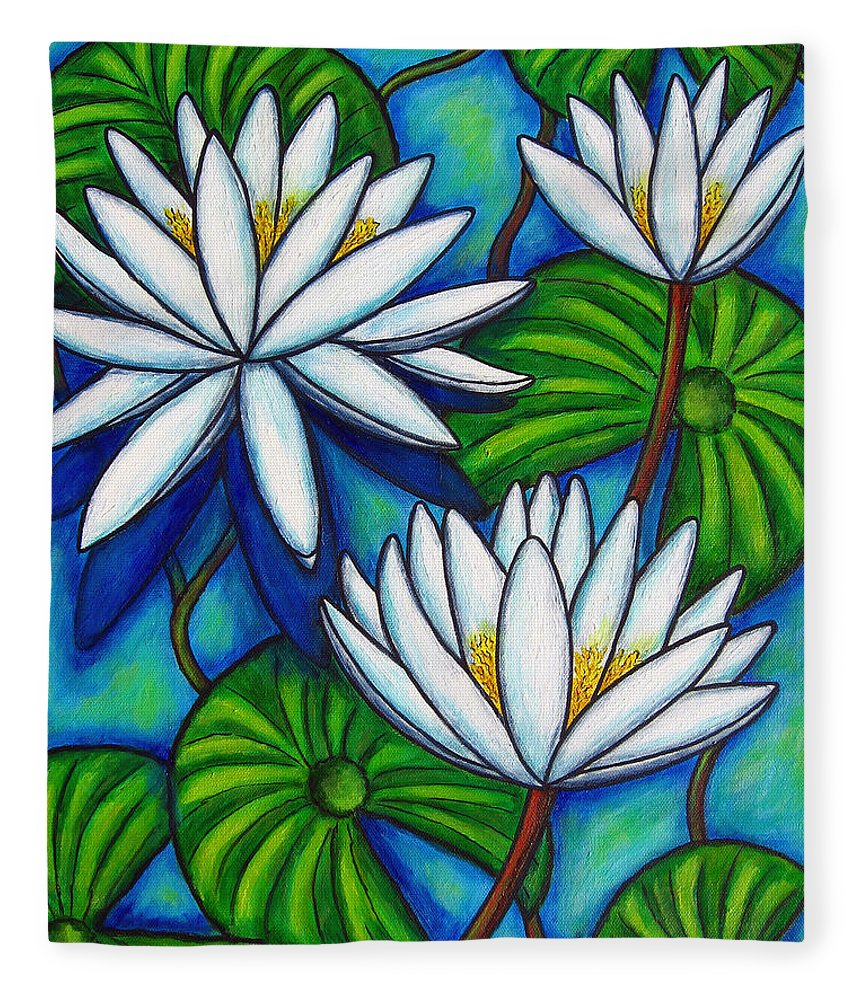 Lily Fleece Blanket featuring the painting Nymphaea Blue by Lisa Lorenz