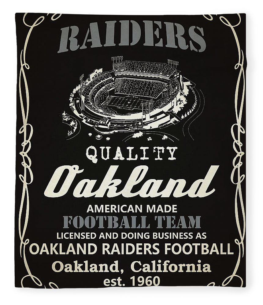 Raiders Fleece Blanket featuring the painting Oakland Raiders Whiskey by Joe Hamilton