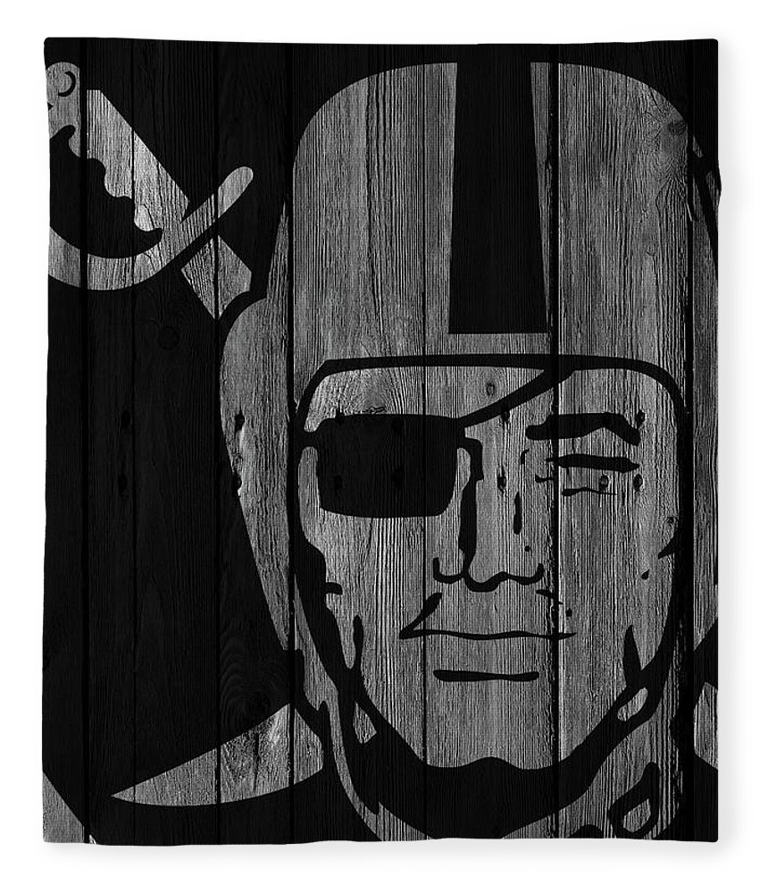 Oakland Raiders Fleece Blanket featuring the photograph Oakland Raiders Wood Fence by Joe Hamilton