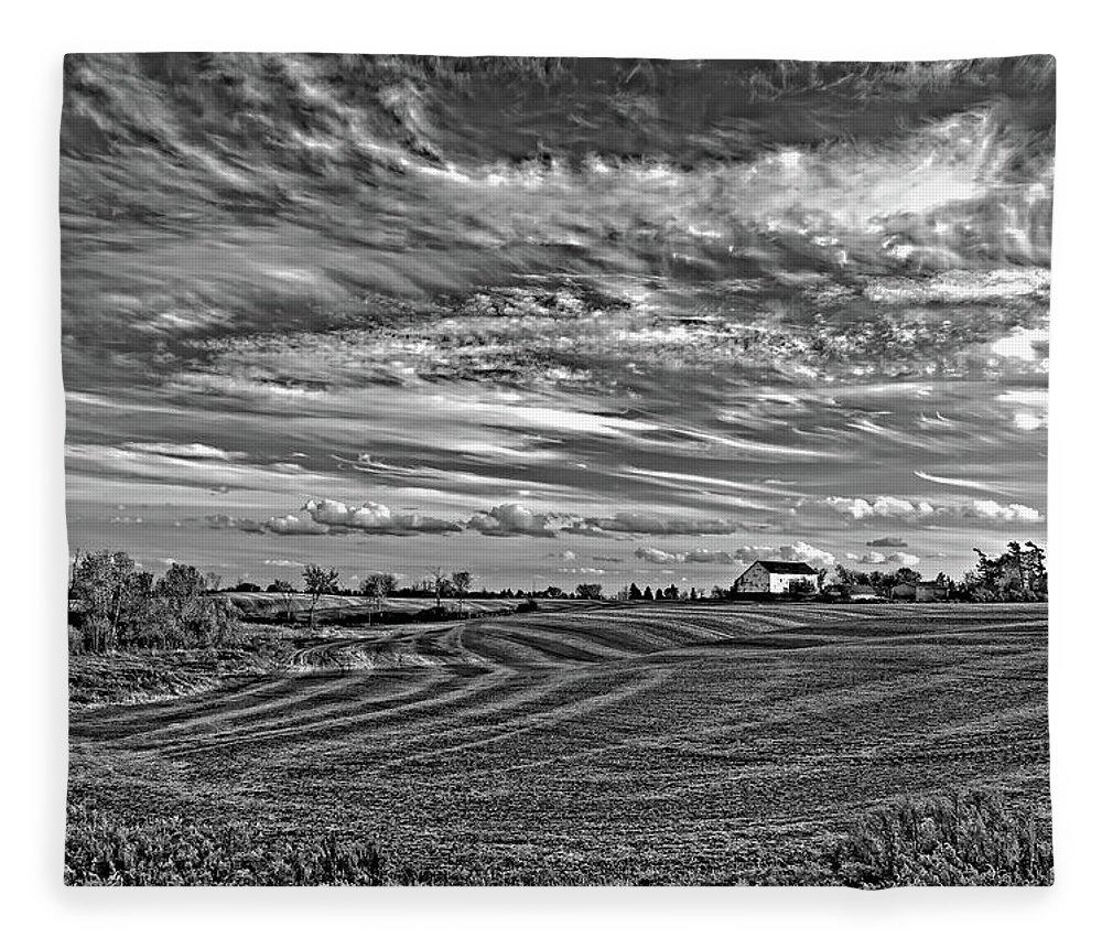 Landscape Fleece Blanket featuring the photograph October Patterns Bw by Steve Harrington