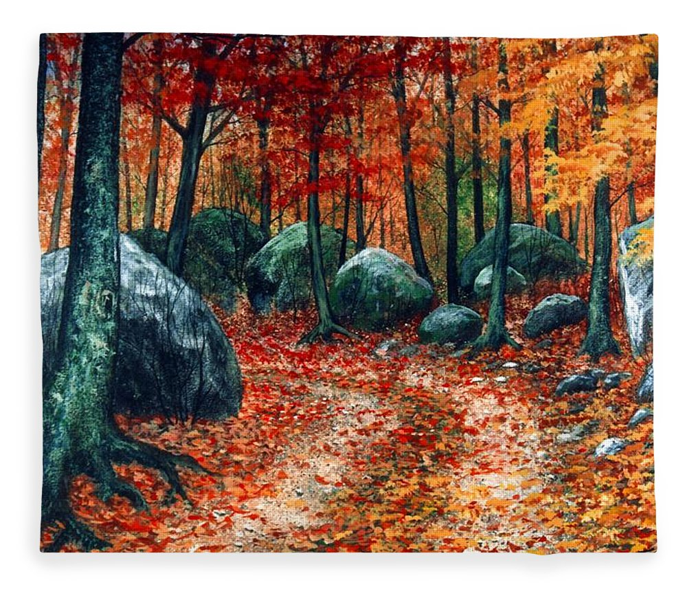 Landscape Fleece Blanket featuring the painting October Woodland by Frank Wilson