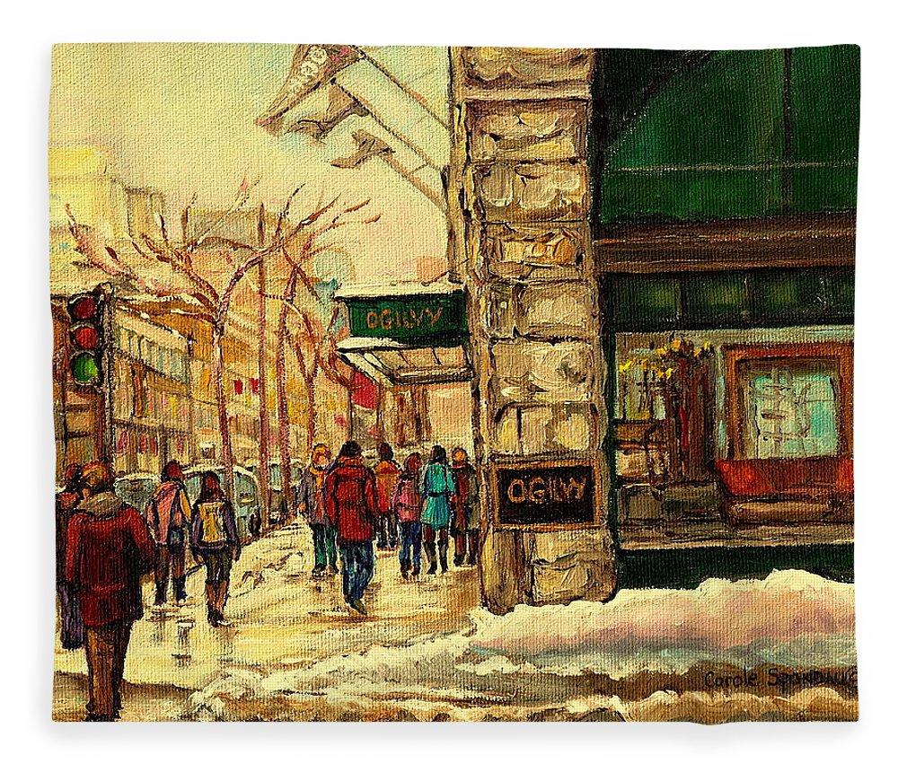 Ogilvys Department Store Fleece Blanket featuring the painting Ogilvys Department Store Downtown Montreal by Carole Spandau