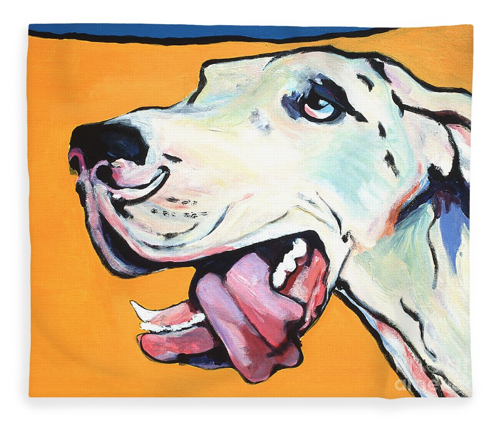 Commissioned Pet Portraits Available Fleece Blanket featuring the painting Ol' Blue Eye by Pat Saunders-White