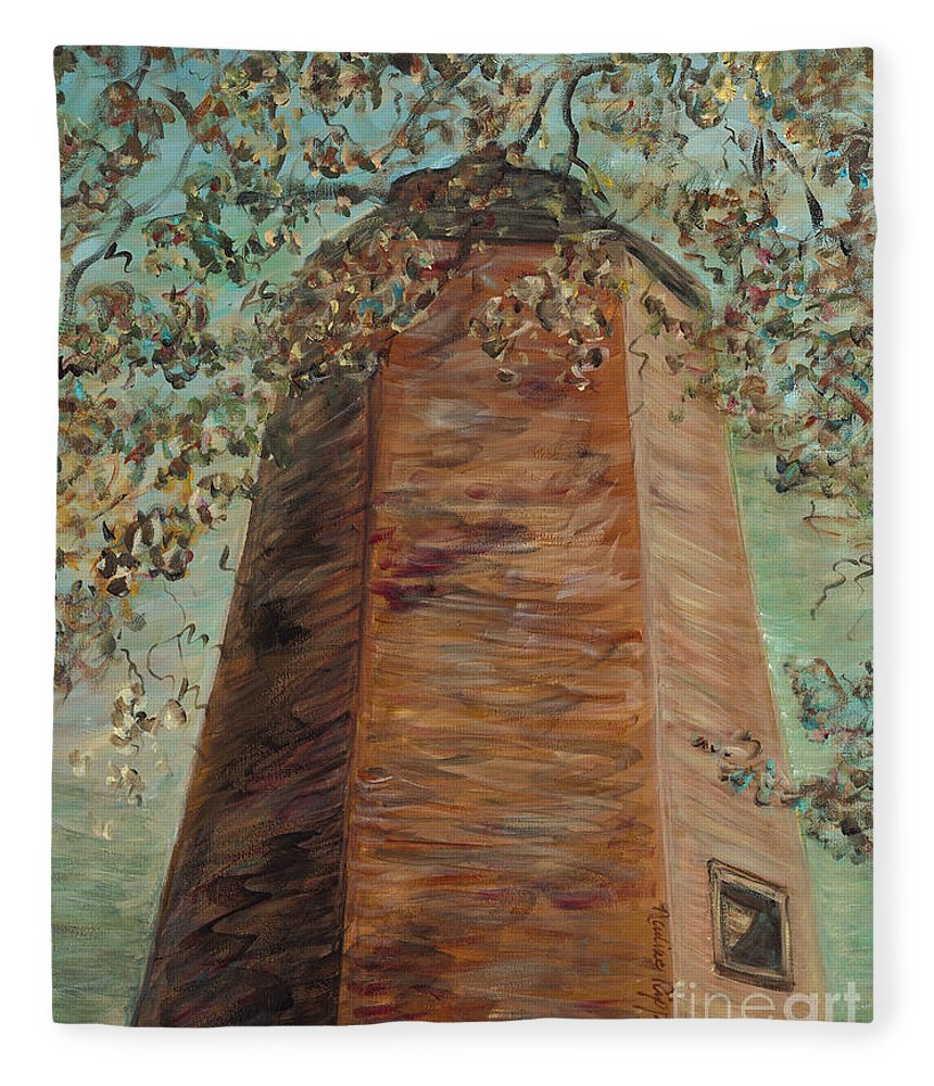 Old Baldy Fleece Blanket featuring the painting Old Baldy Light House in Teal by Nadine Rippelmeyer