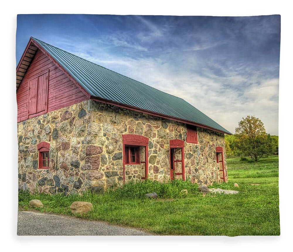Barn Fleece Blanket featuring the photograph Old Barn At Dusk by Scott Norris