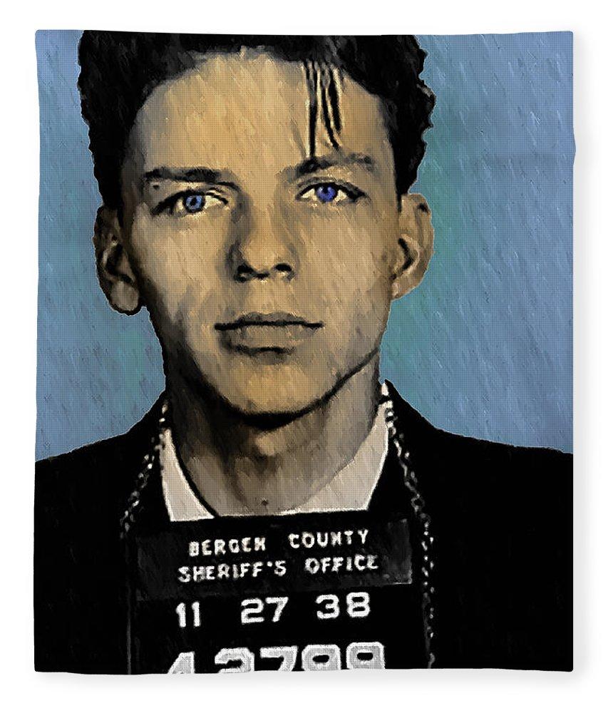 Old Blue Eyes Fleece Blanket featuring the digital art Old Blue Eyes - Frank Sinatra by Digital Reproductions