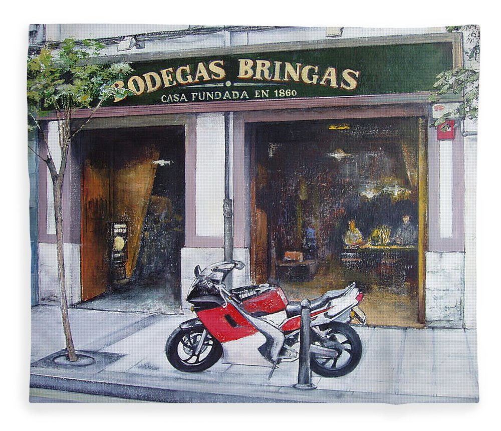 Bodegas Bringas Fleece Blanket featuring the painting Old bodegas Bringas by Tomas Castano
