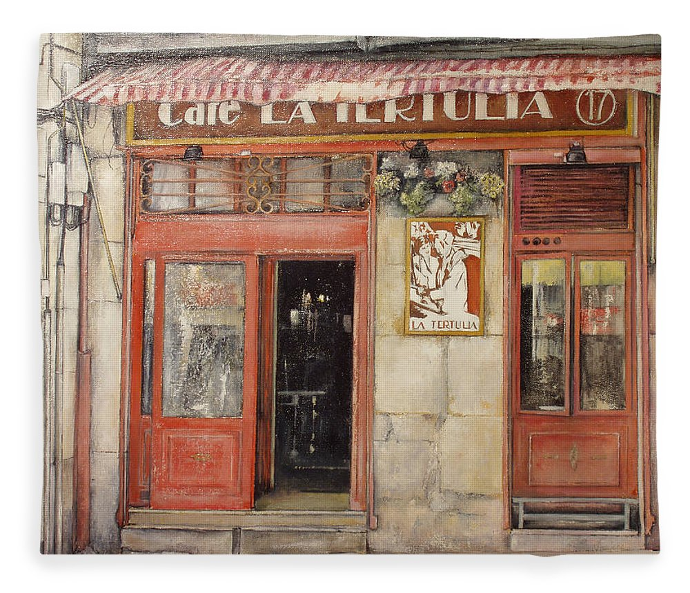 Cafe Fleece Blanket featuring the painting Old Cafe- Santander Spain by Tomas Castano