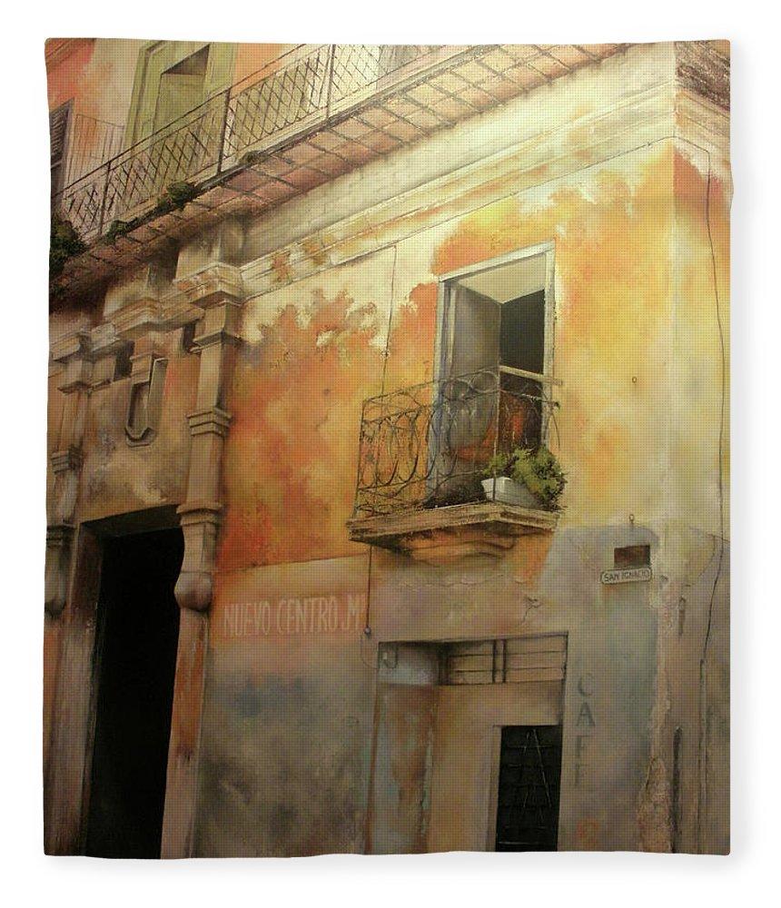 Havana Cuba Fleece Blanket featuring the painting Old Havana by Tomas Castano