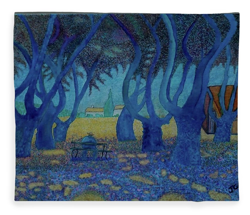 Signac Fleece Blanket featuring the painting Old Man On A Bench by John Cunnane