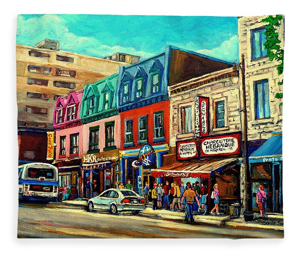 Old Montreal Schwartzs Deli Plateau Montreal City Scenes Fleece Blanket featuring the painting Old Montreal Schwartzs Deli Plateau Montreal City Scenes by Carole Spandau