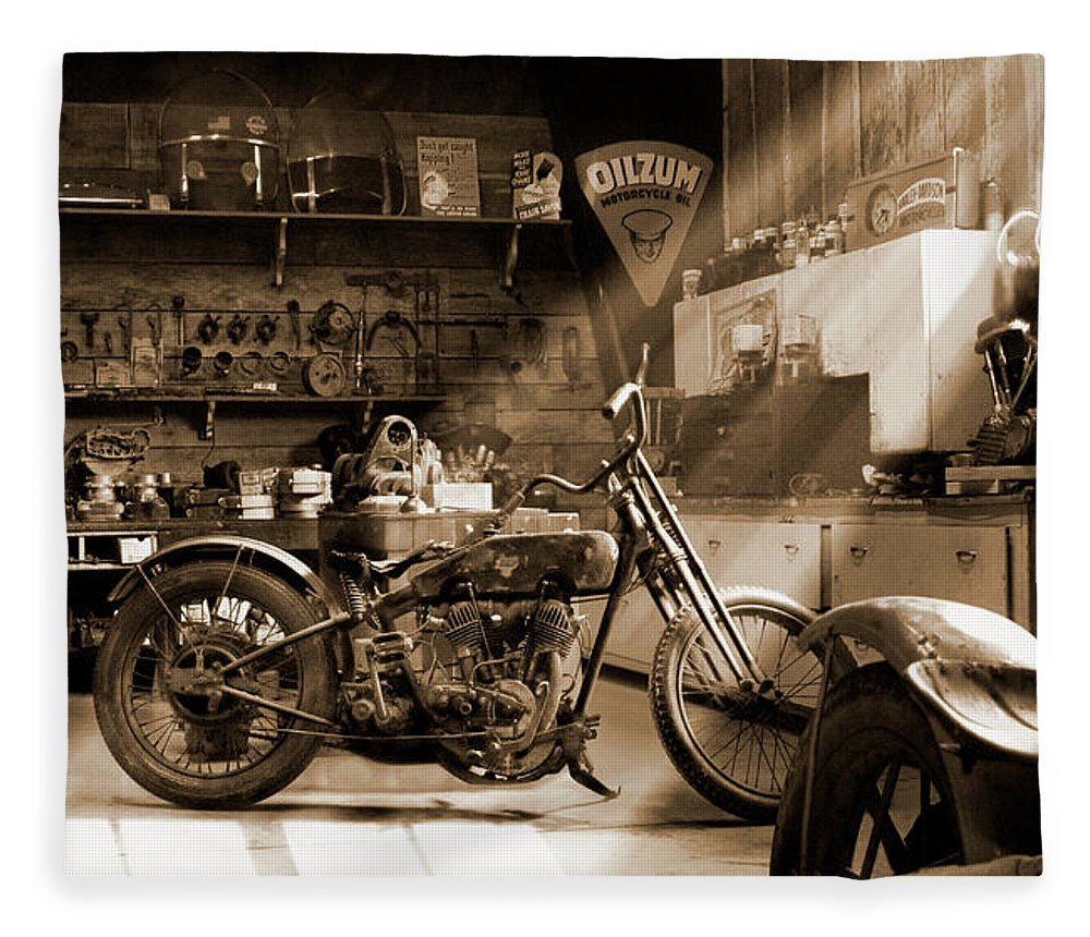 Motorcycle Fleece Blanket featuring the photograph Old Motorcycle Shop by Mike McGlothlen