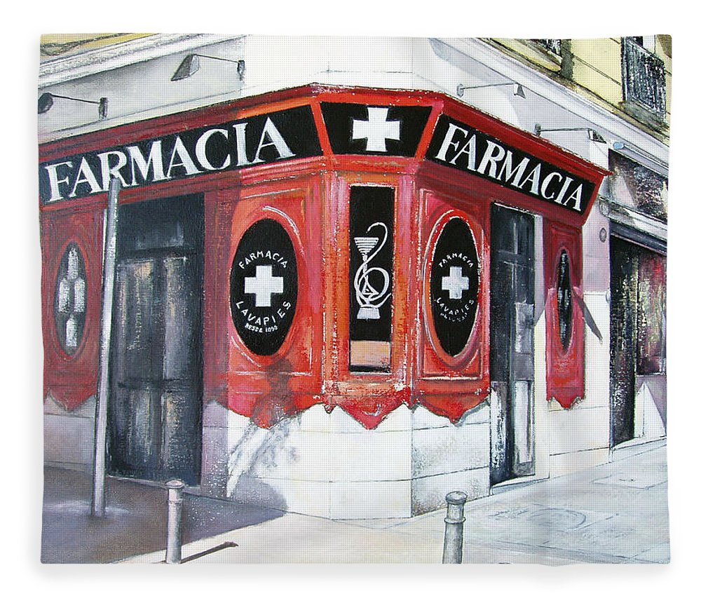 Pharmacy Fleece Blanket featuring the painting Old Pharmacy by Tomas Castano