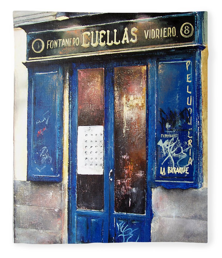 Old Fleece Blanket featuring the painting Old Plumbing-Madrid by Tomas Castano