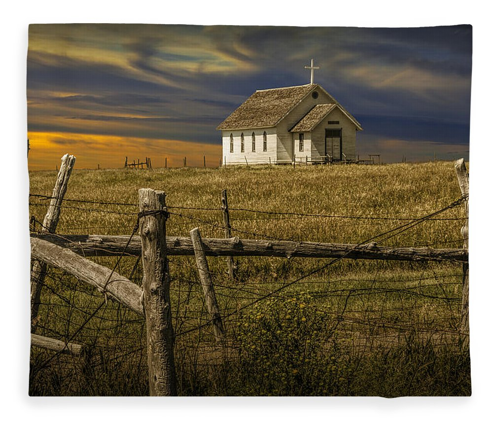 Church Fleece Blanket Featuring The Photograph Old Rural Country At Sunset By Randall Nyhof