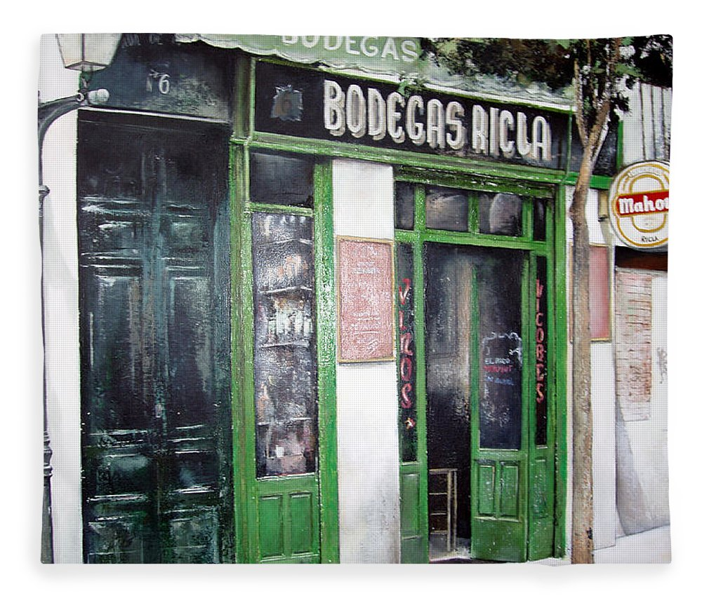 Bodegas Fleece Blanket featuring the painting Old Tavern-Madrid by Tomas Castano