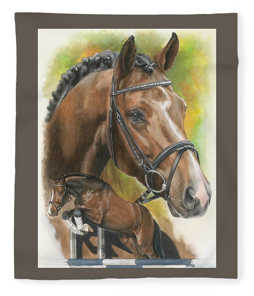 Hunter Jumper Fleece Blanket featuring the mixed media Oldenberg by Barbara Keith