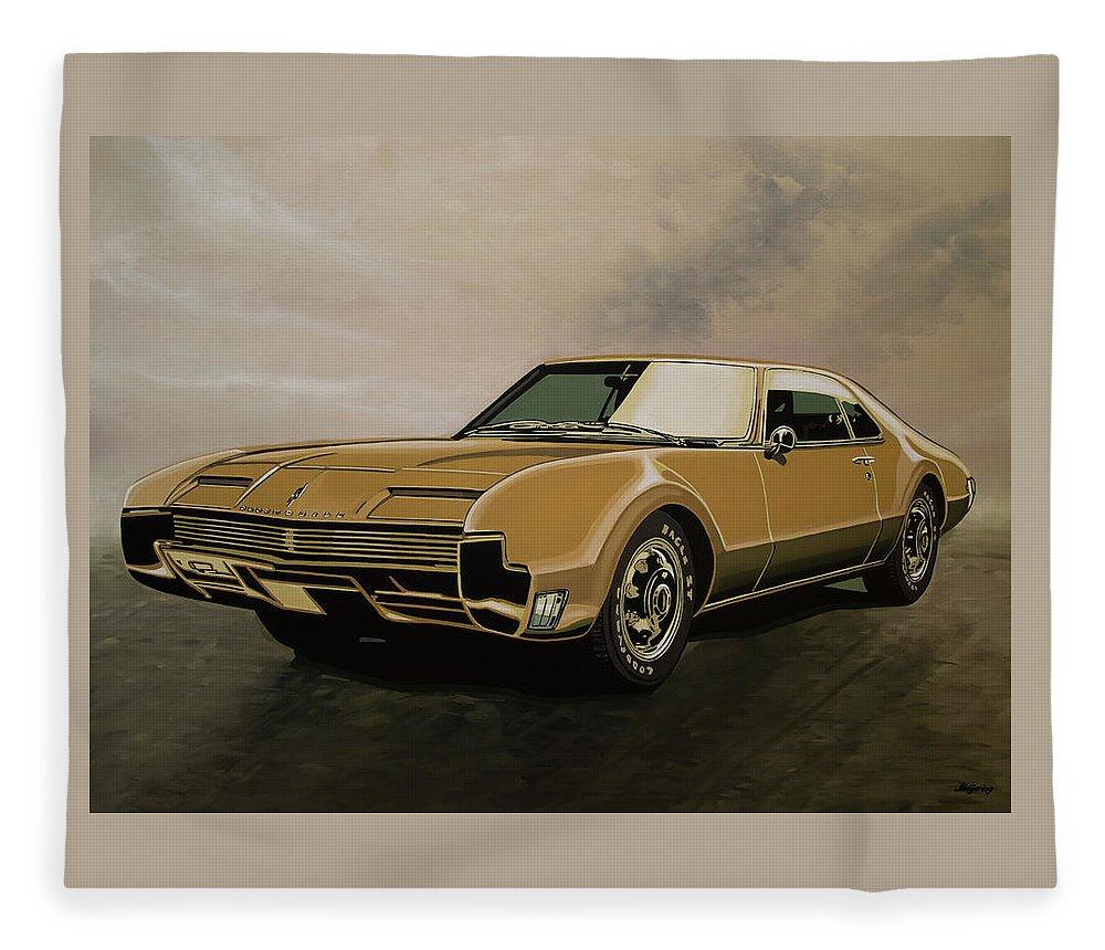 Oldsmobile Toronado Fleece Blanket featuring the painting Oldsmobile Toronado 1965 Painting by Paul Meijering