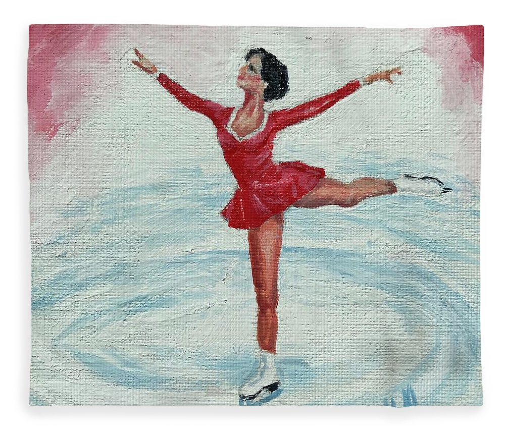 Red Fleece Blanket featuring the painting Olympic Figure Skater by ML McCormick