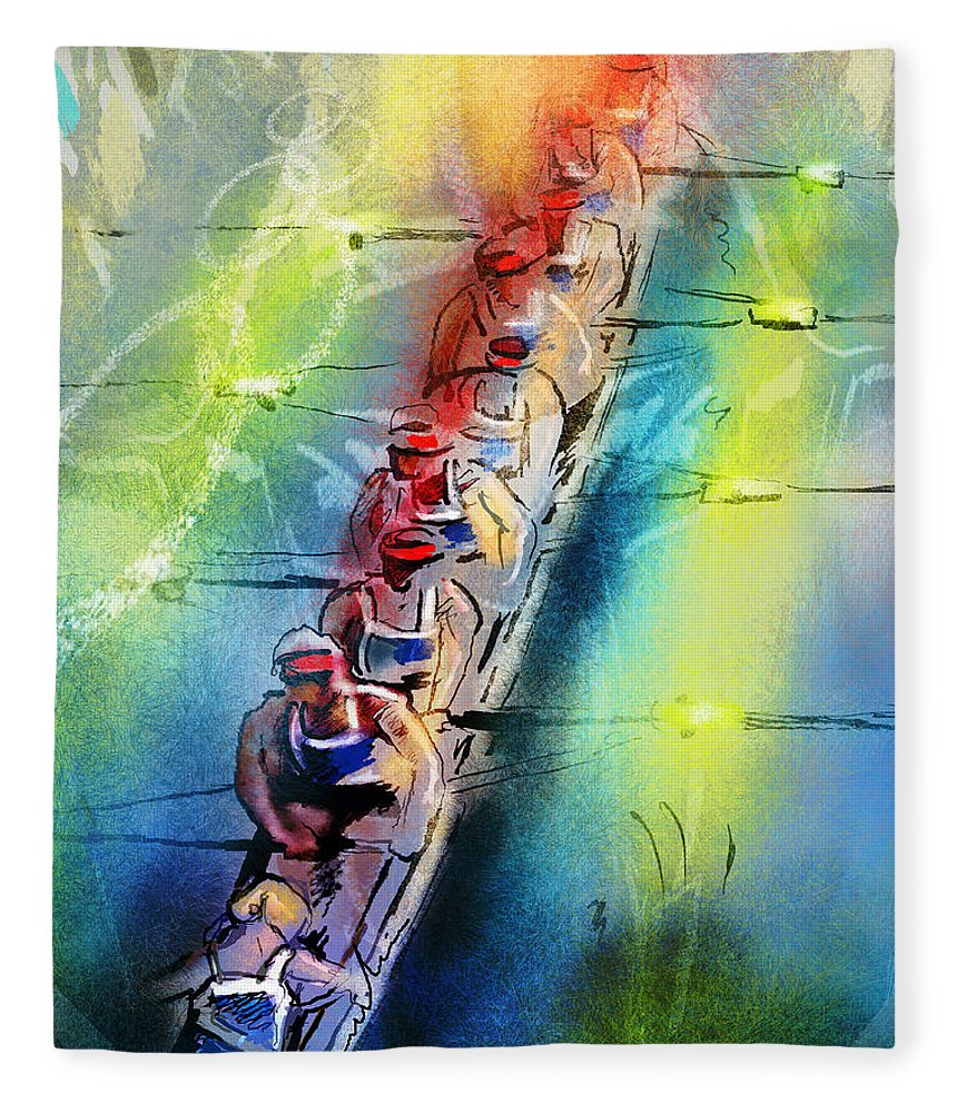 Sports Fleece Blanket featuring the painting Olympics Rowing 02 by Miki De Goodaboom