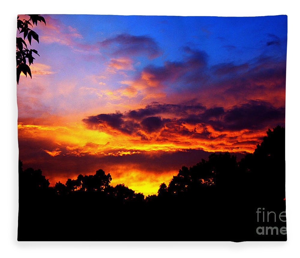 Clay Fleece Blanket featuring the photograph Ominous Sunset by Clayton Bruster
