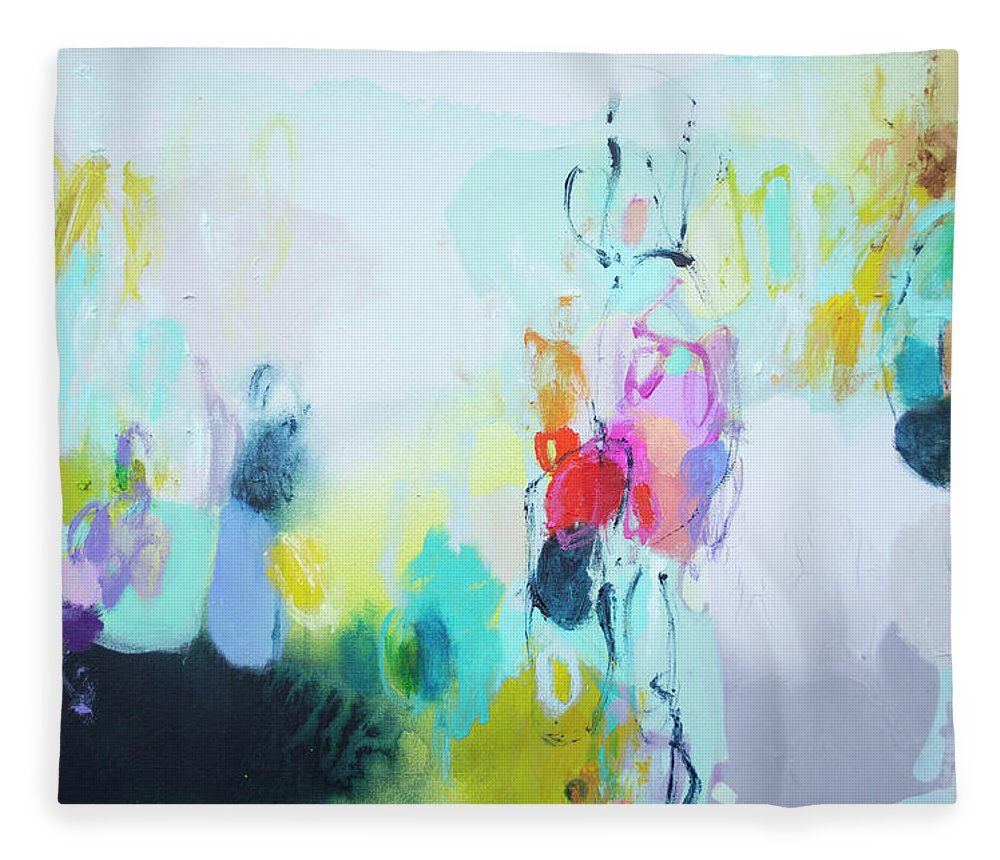Abstract Fleece Blanket featuring the painting On A Road Less Travelled by Claire Desjardins