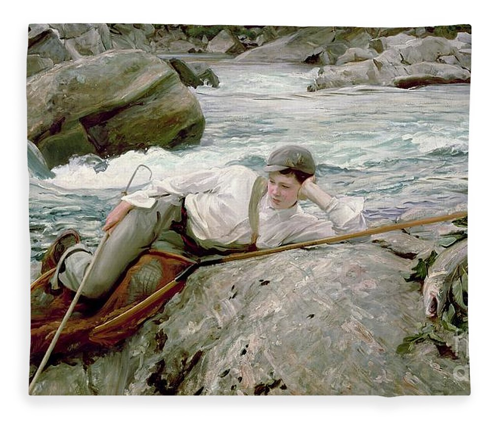 On His Holidays Fleece Blanket featuring the painting On His Holidays by John Singer Sargent
