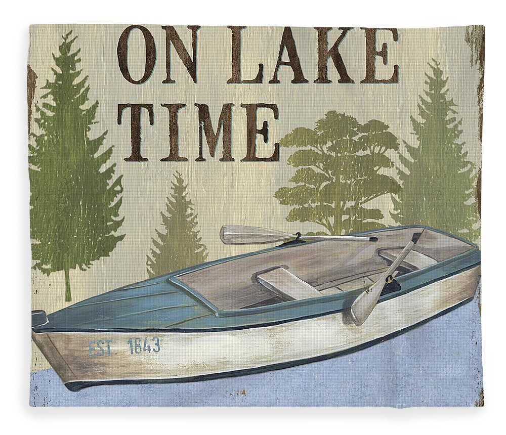 Lake Fleece Blanket featuring the painting On Lake Time by Debbie DeWitt