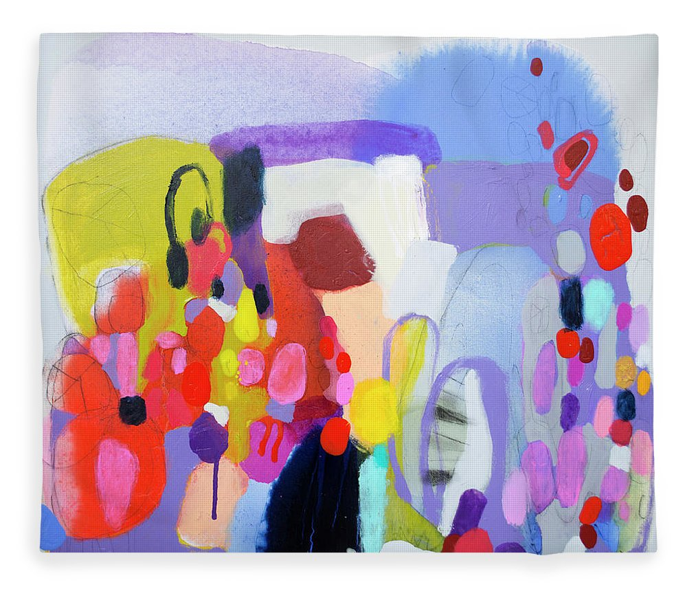 Abstract Fleece Blanket featuring the painting On My Mind by Claire Desjardins